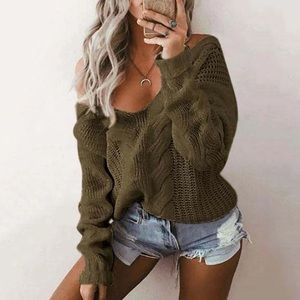 Sweaters - Olive Green Knit Sweater